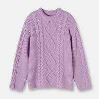 diamante púrpura suelto al por mayor-Big Bird Brand Design 2020 otoño del resorte de los suéteres púrpura 100% de lana suéter diamante torcidos sueltos suéteres del suéter
