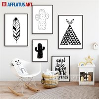 Wholesale spray tents resale online - Tent Cactus Feather Nordic Poster Wall Art Canvas Painting Black White Posters And Prints Wall Pictures Kids Room Decor