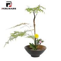 ingrosso vaso di bonsai in ceramica-Ikebana Art Bonsai Vintage Vaso di fiori in ceramica / Giardinaggio Fioriere idroponiche Contenitori Bowl Holder Table Vasi Decor Artigianato