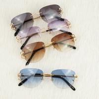 monture plastique lunettes de soleil aviateur achat en gros de-Lunettes de soleil de style pilote sans monture pour hommes femmes Choix coloré pour l'été Lunettes de luxe Carter Super Qualité Cadres en gros