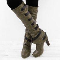 weiße knie hohe stiefel wohnungen groihandel-HEFLASHOR Winter-Knie-Hohe Frauen Stiefel Mode Schwarz-weiße flache Schuhe Frau PU-Leder Schnalle Stiefel Schuhe Casual Versatile