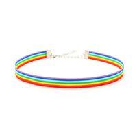 ingrosso pochette di pizzo-Gay Pride Arcobaleno Girocollo Collana LGBT Orgoglio Gay e Lesbiche pizzo Chockers nastro Collare con pendente che Normativa per gli uomini donne