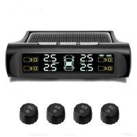 drahtloser solarmonitor großhandel-Funk-Kfz-TPMS Tire Pressure Monitoring System Solar Power Charging Digitale LCD-Anzeige Auto Fahrsicherheitsalarmsysteme