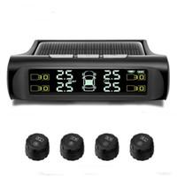 volvo lcd venda por atacado-Sem fio Car TPMS Tire Pressure Monitoring Sistema de energia solar Digital Display LCD Auto Segurança de condução Sistemas de alarme de carregamento