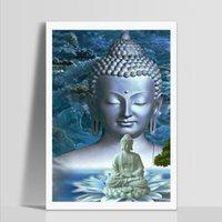statues croisées achat en gros de-Vente en gros 5D Plein Diamant Peinture Bouddha statue Point De Croix Diamant Broderie Modèles Strass Diamant Mosaïque Image 2019 Nouveau
