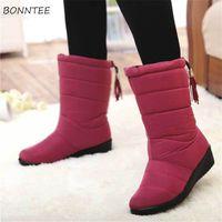 püskül baldır çizmeleri toptan satış-Çizmeler Kadın Püskül kaymaz Kar Boot Orta Buzağı Moda Kış Kalın Peluş Sıcak Rahat Ayakkabılar Womens Avustralya Su Geçirmez Kauçuk
