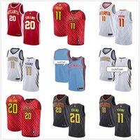camisas pretas da juventude do basquetebol venda por atacado-NCAA Womens Juventude Menspersonalizado Atlanta # Trae 11 Jovem 20 John CollinsHawks Branco Preto Equipamentos de Basquetebol Azul Vermelhonba
