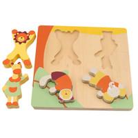 hayvanlar çizgi filmleri yapboz oyunları toptan satış-Çocuk Ahşap Bulmacalar Oyuncak Karikatür Hayvan Eşleştirme Oyunu çocuk Erken Eğitim İstihbarat Oyuncaklar çocuklar Hediyeler