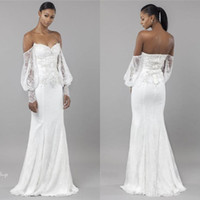 Wholesale off white beach wedding gowns resale online - Elegant Long Sleeves Off Shoulder Mermaid Wedding Dresses African Bohemian Beach Wedding Gowns Cheap Lace Sweep Train Bridal Gowns