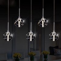 Wholesale crystal light shades resale online - LED crystal hanging lamp decoration restaurant lamps bar dining room lamp shade creative personality simple post modern lamp