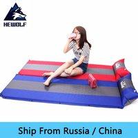 china envío rusia al por mayor-(Se envía desde Rusia / China) Alfombrilla de colchón de aire autoinflable Hewolf Estera de camping al aire libre automática Empalme Espesar Tienda de espuma