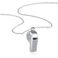 nickel-silber halskette groihandel-Solide 925 echtes Sterling Silber klar CZ Stern Herz Pfeife Anhänger Kette Halskette 18