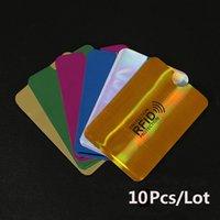 mangas de tarjetas de envío gratis al por mayor-10 piezas Anti-Scan Card Sleeve Credit RFID Card Protector Anti-magnetic Aluminum Foil Portable Bank Card Holder 7 colores Envío gratis