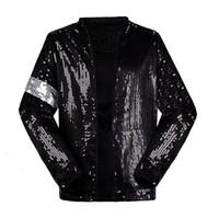 guantes negros para niños al por mayor-Classic MJ Michael Jackson Billie Jean Chaqueta de lentejuelas con guante Niños Adultos Mostrar Pacthwork Negro Outwear Plus Size 4XS-4XL