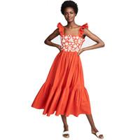 robes de ligne brodées achat en gros de-2019 Une ligne Boho inspirée robe brodée à bretelles sans manches Midi robes d'été en coton orange sans bretelles mignonne robe femmes vestidos
