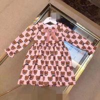 robes bébé fille imprimées achat en gros de-Concepteur de robes de fille de bébé enfants robes mignonnes élégante robe imprimée jupe sans manches luxe Logo vêtements de fille de bébé livraison gratuite