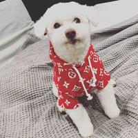 pamuklu köpek giyim toptan satış-Teddy Yavru Pet Hoodies Sevimli Schnauzer Küçük Köpek Giyim Pamuk Nefes Yumuşak Pet Giyim Gelgit Marka Pet Malzemeleri