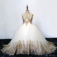Wholesale wedding dress rhinestone collar for sale - Group buy Sparkly Gold Lace Flower Girls Dresses For Wedding Vintage High Neck Hollow Back Sequins Beaded Rhinestones First Communion Dress