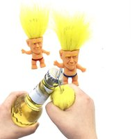 Wholesale hair bottles resale online - Opp Packing Troll Dolls Openers Portable Donald Trump Bottle Opener Yellow Hair Doll Creative With Superior Quality ty J1