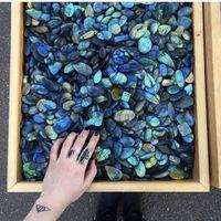 20 pcs Random Natural Colorful Labradorite Quartz Crystal Polish Pendant Healing
