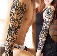 tatuajes de brazo para hombres al por mayor-Brazo lleno Flor Etiqueta Engomada Del Tatuaje Impermeable Temporal Manga Del Tatuaje Hombres Mujeres Pintura Corporal Transferencia de Agua Falso Tatoo Manga