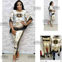 damenoberteile hosen großhandel-2018 African Dashiki New Dashiki Fashion Suit (Oberteil und Hose) Super elastische Party Plus Größe für die Dame