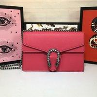 echtlederhaut großhandel-New Vintage Designer Luxus Handtaschen Geldbörsen Kalbsleder echtes Leder mit Kette Umhängetasche Top-Qualität Marke Damen Umhängetaschen Mitte