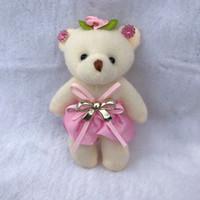 oso arco bebé al por mayor-Precioso sombrero lindo bebé niña oso de peluche modelo Mini Bow diseño juguetes de peluche para el banquete de boda juguetes de decoración del hogar