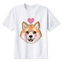 weiße t-shirts v hals männer großhandel-Shiba Inu T-shirt Männer T-shirt Mode T-shirt O Hals Weiß T-shirts Für Mann Top Tees Mmr521