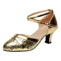 chaussures tango talons hauts achat en gros de-Ballroom Tango Latin Salsa Chaussures Paillettes Chaussures Social Chaussure Slingback Talons Hauts Sexy Femme Fête # G4