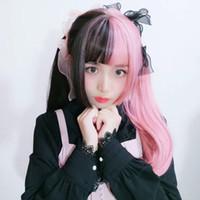 cabelos longos de meninas negras venda por atacado-ar quente peruca menina Qi Liu Hai pó preto de duas cores longo cabelo liso Princesa cortar cabelo estilo cabeça fibra química peruca Ji