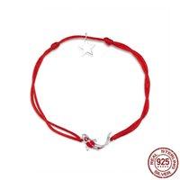 bracelete de corda vermelha venda por atacado-Sorte carpa Corda Vermelha 925 Pulseira De Prata Esterlina para Mulheres Moda Simples Jóias de Casamento Natal