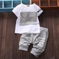 neugeborenen jungen kleidung verkauf großhandel-heißer verkauf Baby kleidung marke sommer kinder kleidung sets t-shirt + hose anzug Star Printed Kleidung neugeborenen sport anzüge