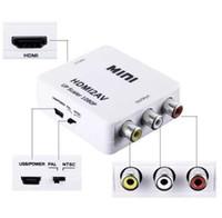 adaptador ntsc venda por atacado-HDMI para RCA Adaptador CVBS 1080 P Conversor de Vídeo HDMI2AV Adaptador Conversor Caixa de Suporte NTSC PAL Saída HDMI PARA AV Adaptor