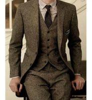 harris tweeds großhandel-2019 Vintage Herren Anzüge Wolle Tweed 3-teilig Braun Khaki Herringbone Anzug Custom Slim Fit Bräutigam tragen Hochzeit Smoking (Jacke + Hose + Weste)