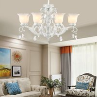 Wholesale cottage style kitchens resale online - European style luxurious resin crystal chandelier lighting glass lampshade white chandelier lights bedroom dinning room led pendant lamps