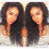 Wholesale big virgin black lady for sale - Brazilian Curly Human Hair Wig For Black Women Glueless Virgin Hair Loose Curly Full Lace Wig With Baby Hair Bleached Knots