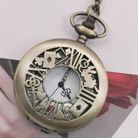 Wholesale pocket watch necklace alice wonderland for sale - Group buy Top Brand Bronze Retro Alice in Wonderland Black Dial Quartz Pocket Fob Watch Pendant Necklace Gift For Boy Girl Chilren TD2073