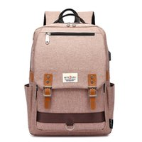 Wholesale korean laptop bags resale online - Fashion College School Backpack Korean Style School Bags with USB Charging Port Outdoor Sports Rucksack Fits Inch Laptop