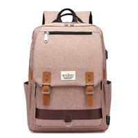 koreanische laptop-taschen großhandel-Fashion College School Rucksack, koreanischen Stil Schultaschen mit USB-Ladeanschluss Outdoor Sports Rucksack passt 15,6-Zoll-Laptop