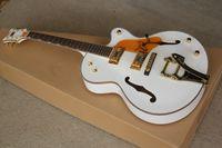 gran guitarra electrica blanca al por mayor-Custom Shop 6120 Guitarra White Falcon Guitarra eléctrica Jazz Hollow Body con Big sby Tremolo