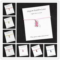 brustcharme großhandel-Wunschkarte Armband mit Geschenkkarte Hoffnung Breast Cancer Awareness Charms Wunschkarte Charm Armband für Frauen Männer Mädchen Freundschaft Geschenk