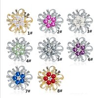 Wholesale wedding dress flower pins resale online - Crystal Pearl flower Brooches pins Silver Gold plated Corsage Women Men Wedding jewelry Bride Corsage Dress Suit jewelry gift