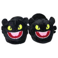 zapatillas de felpa suave de dibujos animados al por mayor-Dragón cálido Zapatillas de felpa sin dientes Hogar Adulto Invierno Zapatillas de interior Unisex Casa de Dibujos Animados Zapatos de Boca Abierta TTA377