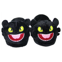 Wholesale winter soft home shoes resale online - Warm Dragon Toothless Plush Slippers Home Adult Winter Indoor Slippers Soft Unisex House Cartoon Open Mouth Shoes TTA377