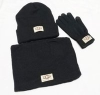 kaschmir hut schal gesetzt männer groihandel-Neue Designer Hüte Schals Handschuhe Sets Mode Schal Handschuhe Mütze Cold Weather Zubehör Cashmere Geschenk-Sets für Männer Frauen