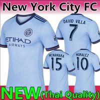 d9d8127c0f Men s New York City FC David Villa Light Blue 2017 18 fans version Jersey NEW  2019  10 Maximiliano Moralez Custom home football uniforms