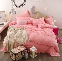 ingrosso set puro comforter di cotone-Moda set consolatore regina copripiumino imposta biancheria da letto lenzuola di colore puro biancheria da letto in cotone morbido