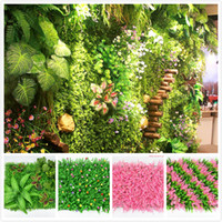 Wholesale plastic garden walls for sale - Group buy 31 styles artificial turf eco friendly artificial lawn colorful artificial plat wall delicate plastic grass for wedding garden decorations
