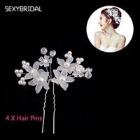 украшения для тиары на лбу оптовых-Simulated Pearl Bridal Hair Sticks Headpiece Forehead White Flower  Hair Pin Tiara Wedding Jewelry Accessories LB